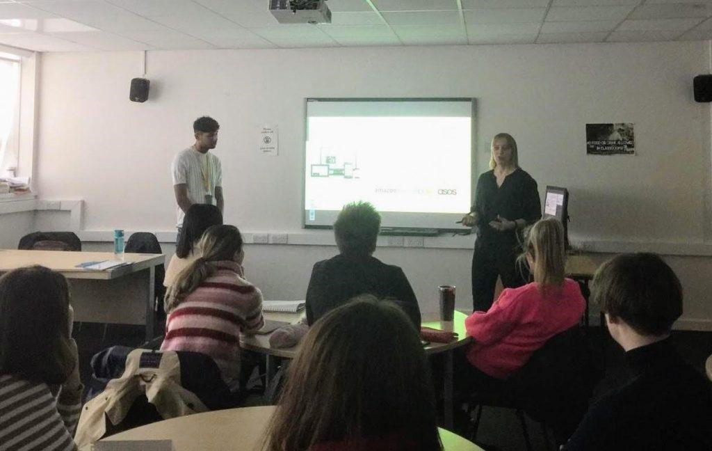 Maddie Kortenaar and Jordan Singh presenting at Edinburgh College